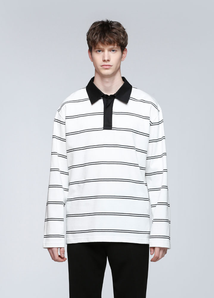STRIPE RUGBY LONG TSHIRT[WHITE]