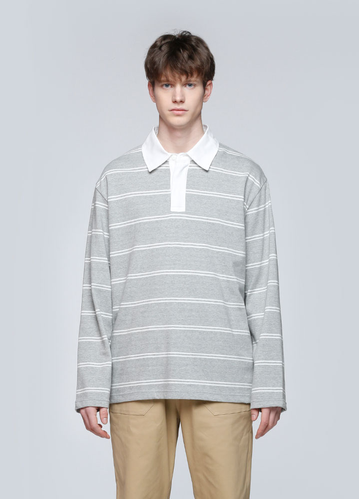 STRIPE RUGBY LONG TSHIRT[GREY]