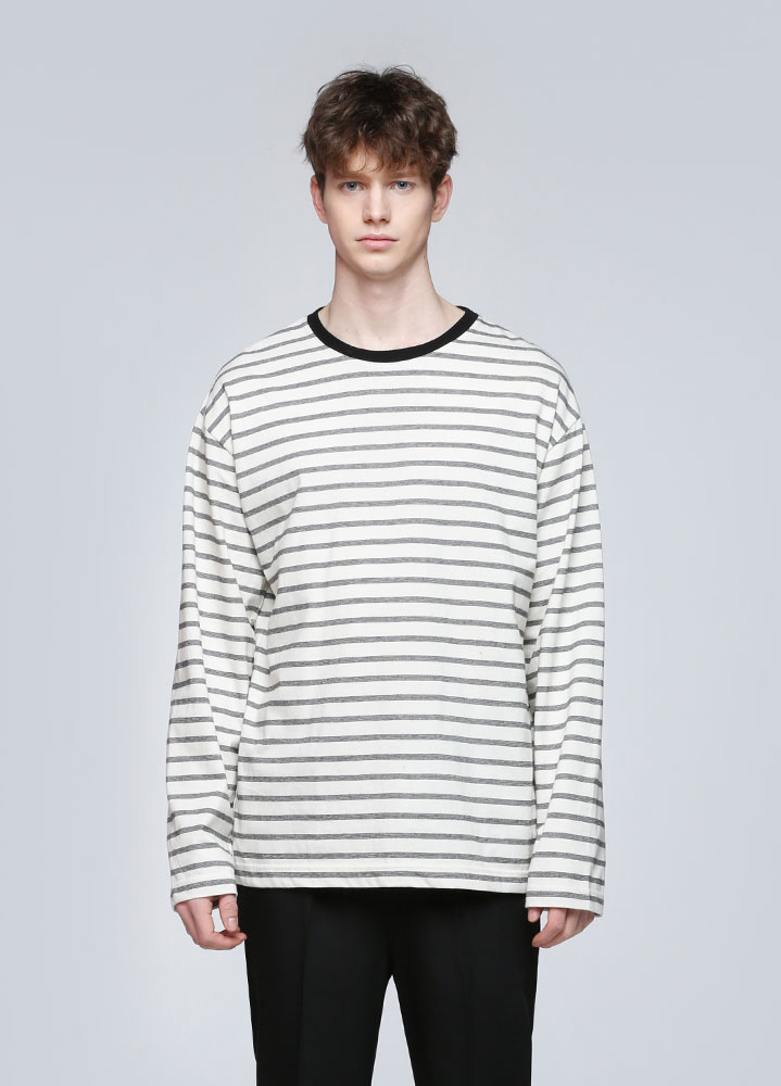 MULTI STRIPE LONG SLEEVE TSHIRT[IVORY]