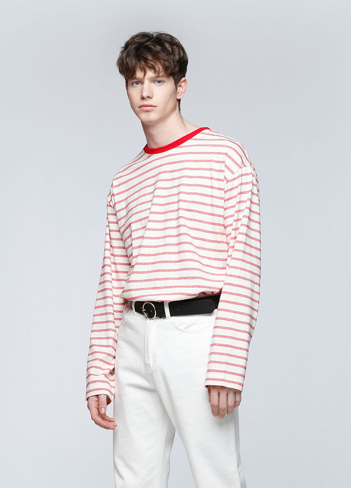 MULTI STRIPE LONG SLEEVE TSHIRT[RED]