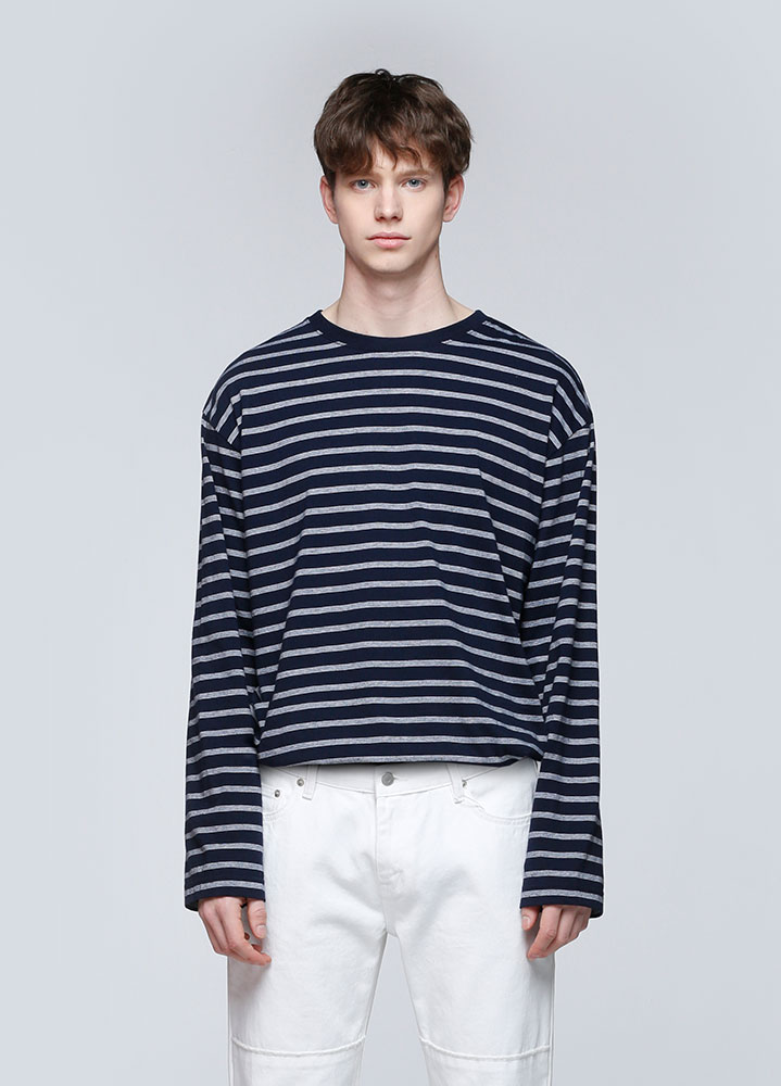 MULTI STRIPE LONG SLEEVE TSHIRT[NAVY]