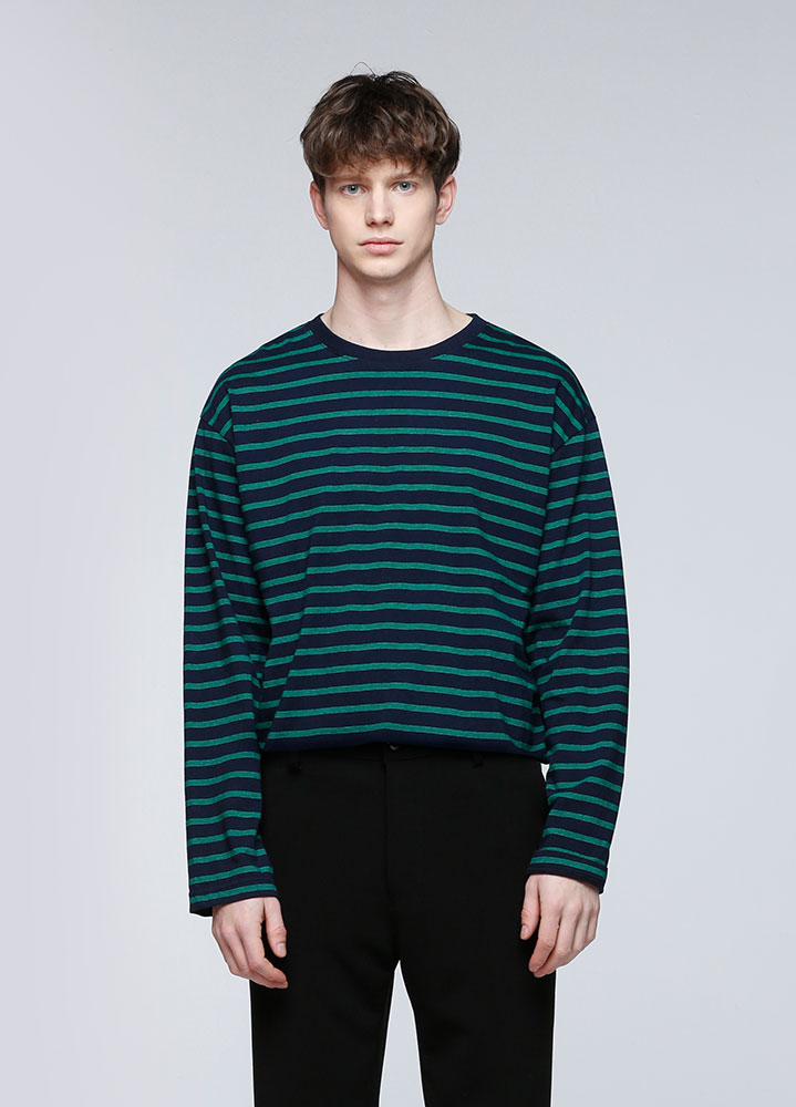 MULTI STRIPE LONG SLEEVE TSHIRT[GREEN]