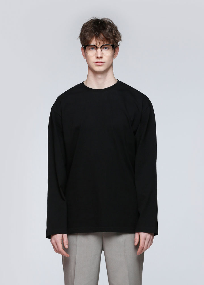 SOFT COTTON  LONG TSHIRT[BLACK]