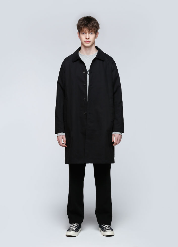 LOOSE FIT COTTON SINGLE COAT[BLACK]