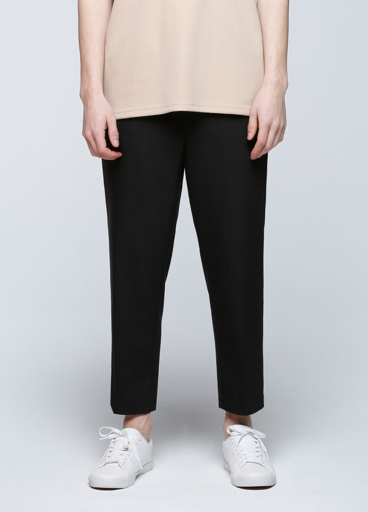 WIDE CROP BANDING SLACKS[BLACK]