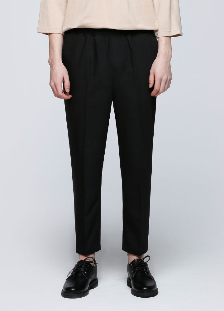 STANDARD CROP BANDING SLACKS[BLACK]