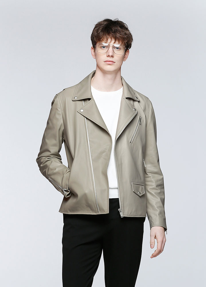 [LEATHER COLLECTION]CLASSIC LAMBSKIN RIDERS JACKET[BEIGE]