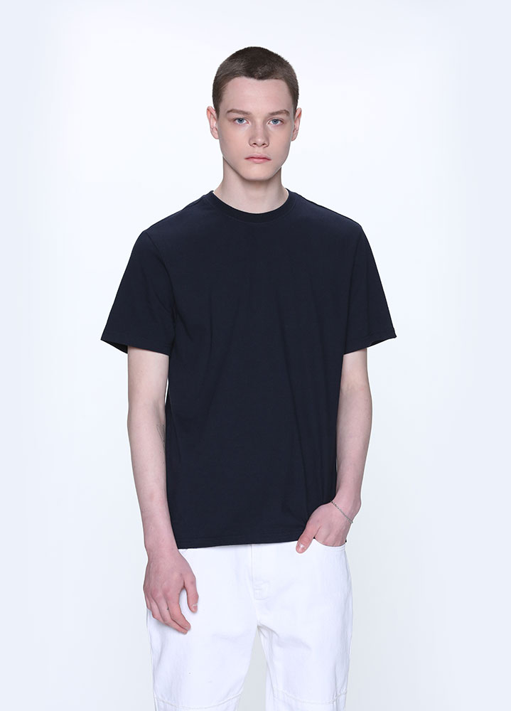 LONG REGULAR FIT SHORT TSHIRT[NAVY]