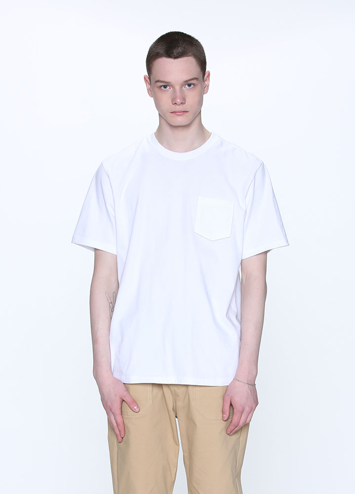 NEW COTTON POCKET SHORT TSHIRT[WHITE]