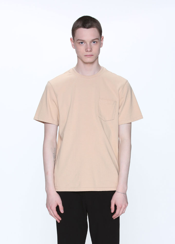 NEW COTTON POCKET SHORT TSHIRT[BEIGE]