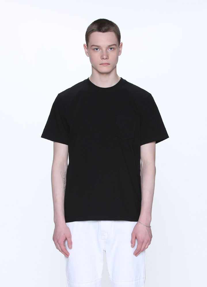 NEW COTTON POCKET SHORT TSHIRT[BLACK]