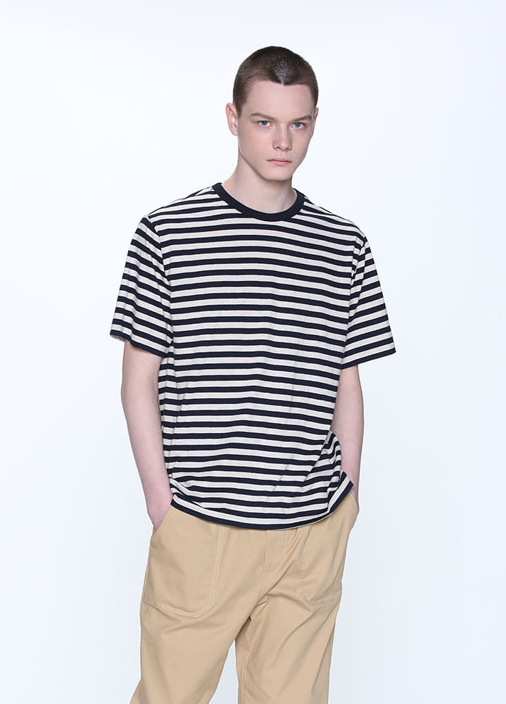BLOCK STRIPE TSHIRT[NAVY]
