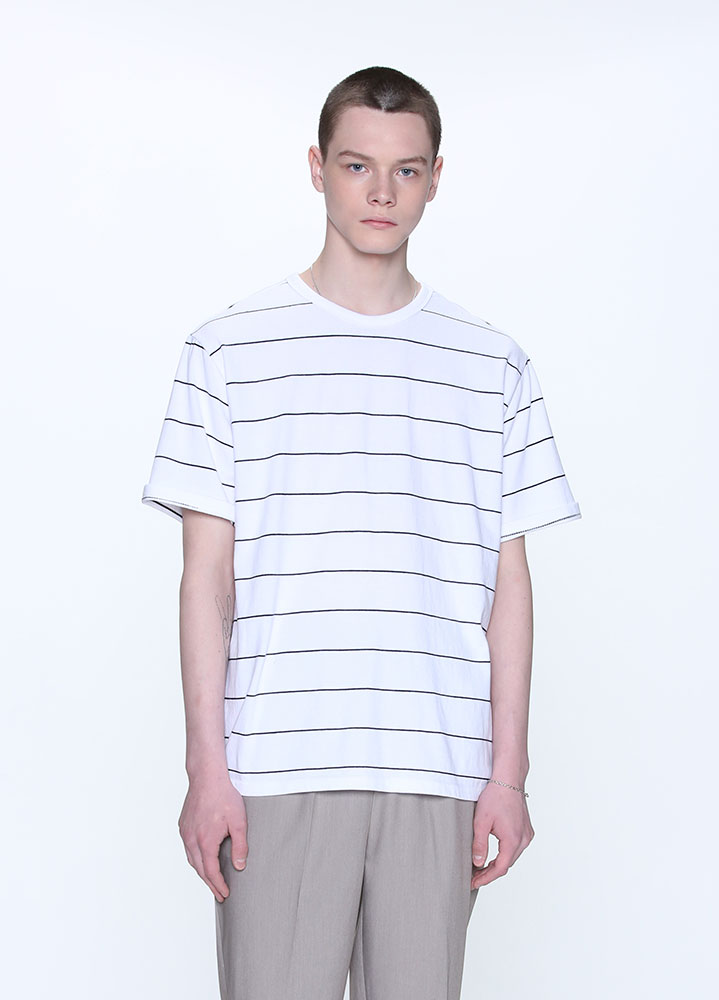 PIN STRIPE TSHIRT[WHITE]