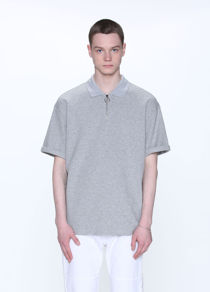 HALF ZIP COLLAR TSHIRT[GREY]