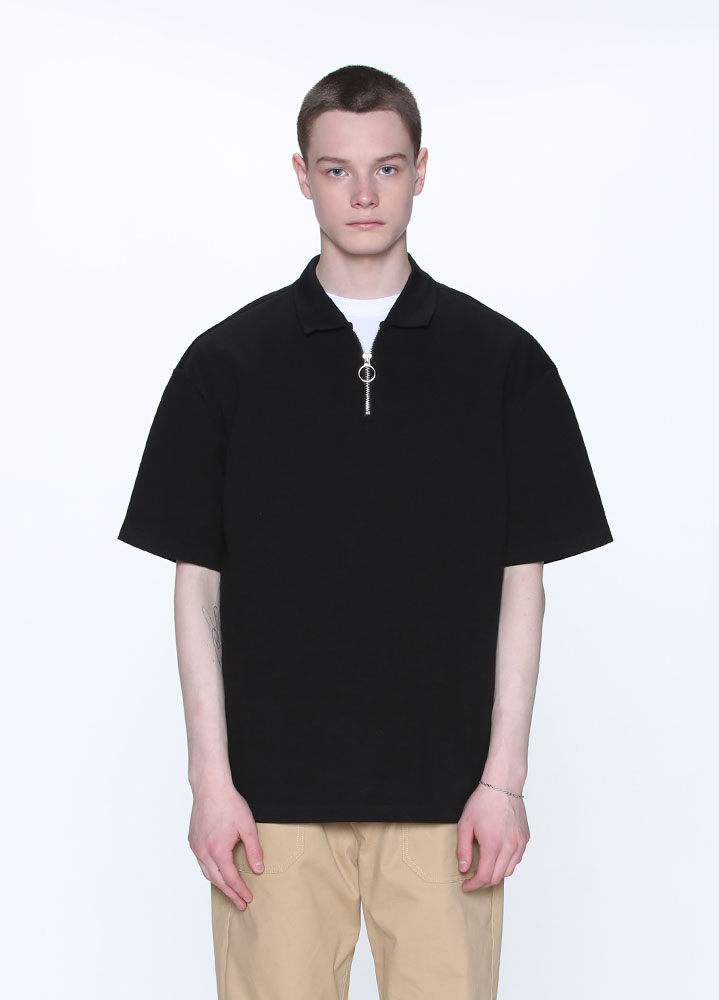 HALF ZIP COLLAR TSHIRT[BLACK]