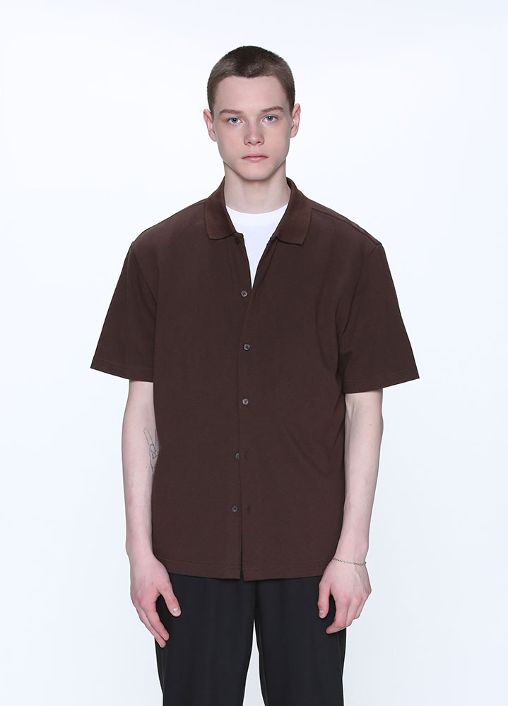 BUTTON COLLAR SHIRT[BROWN]