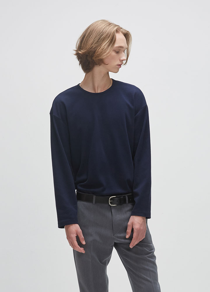 KNIT ROUNDNECK LONG TEE[NAVY]