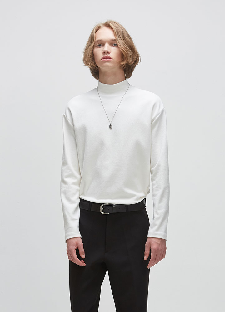 KNIT HALFNECK LONG TEE[IVORY]