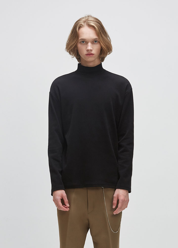 KNIT HALFNECK LONG TEE[BLACK]