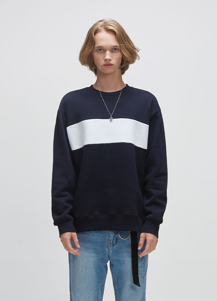 BLOCK SWEATSHIRT[NAVY]