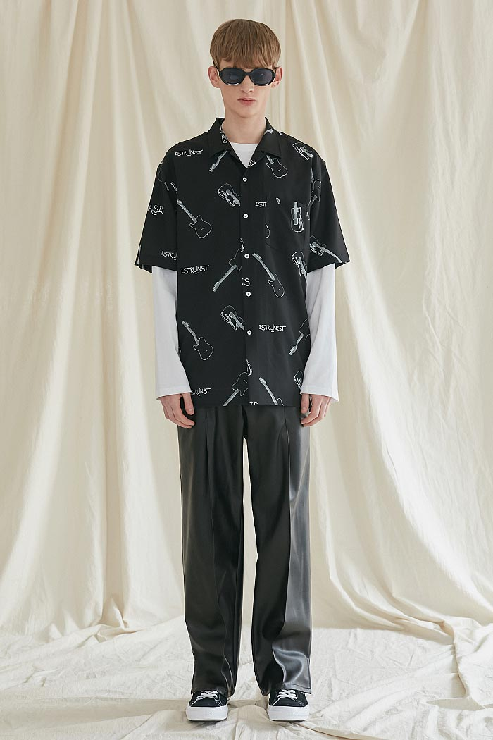 GUITAR HAWAIIAN SHIRTS[BLACK]