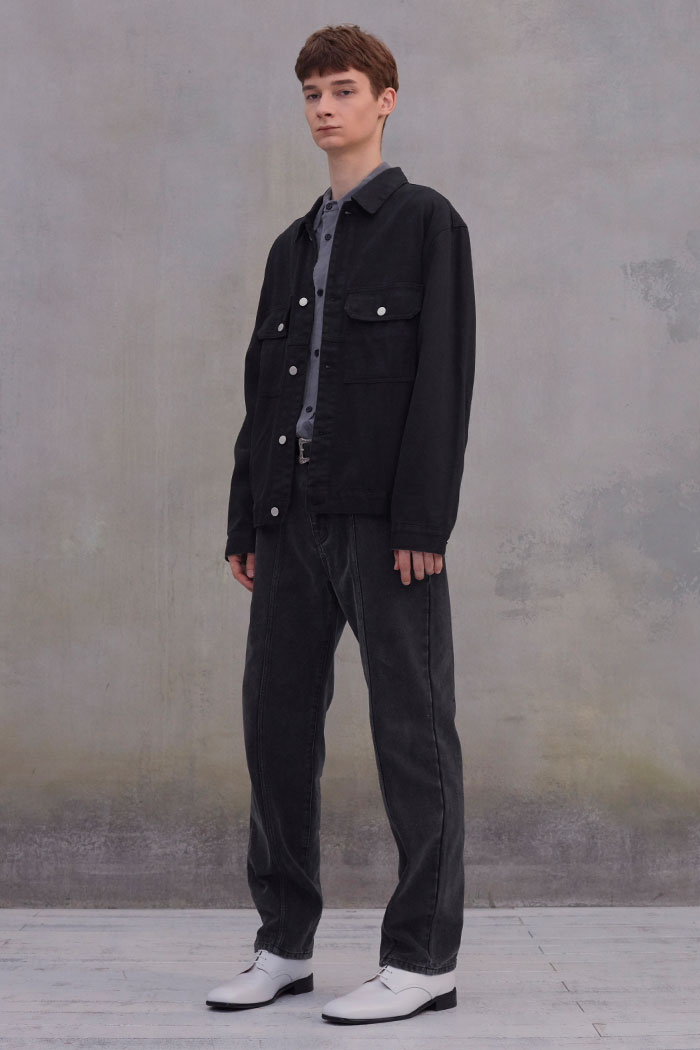 COTTON TRUCKER JACKET[BLACK]