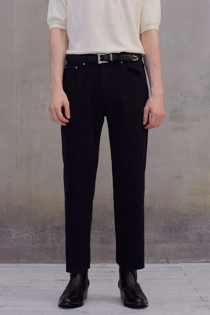 BLACK WIDE CROP JEANS[BLACK]