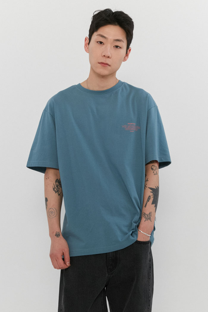OUT LINE SLOGAN TEE[BLUE]