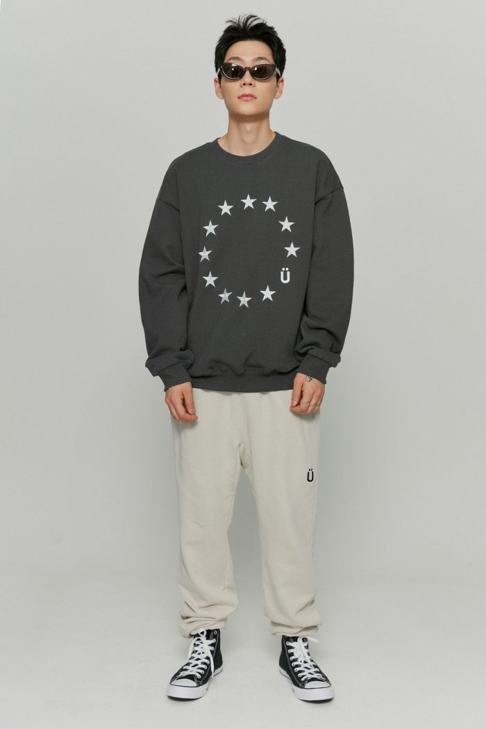 U LOGO PIGMENT SWEATPANTS[CREAM]