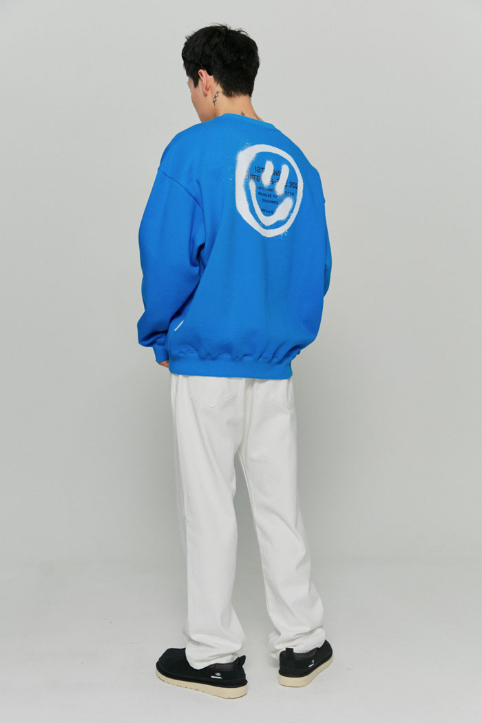 LOGO&SMILEY SWEATSHIRTS[BLUE]