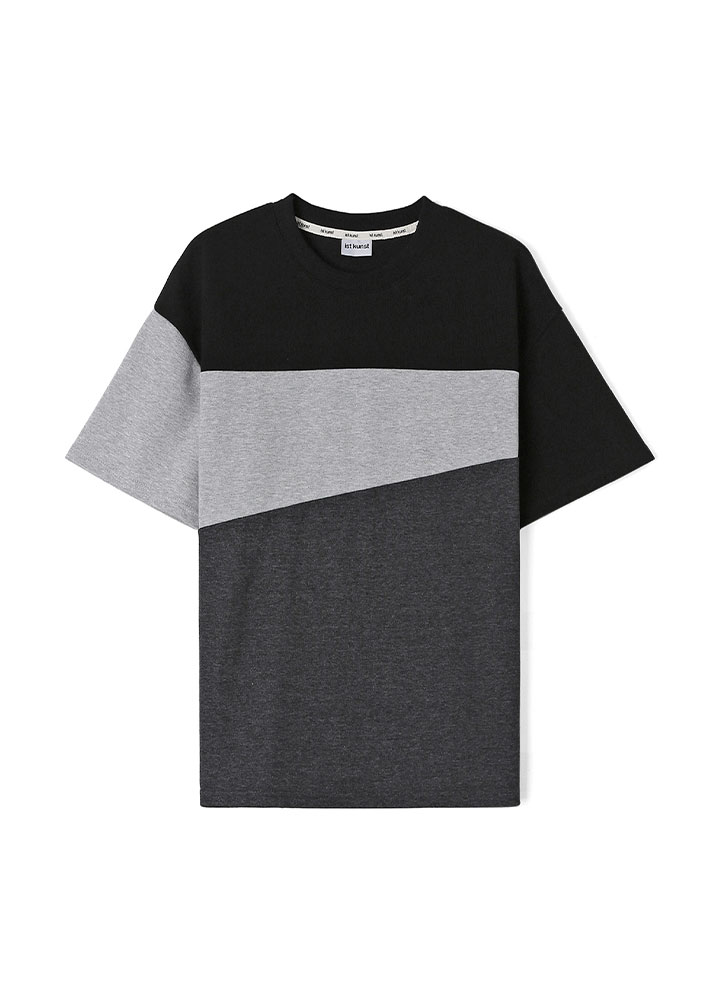 [17SS]TRIPLE COLOR BLOCK LOOSE FIT TSHIRT