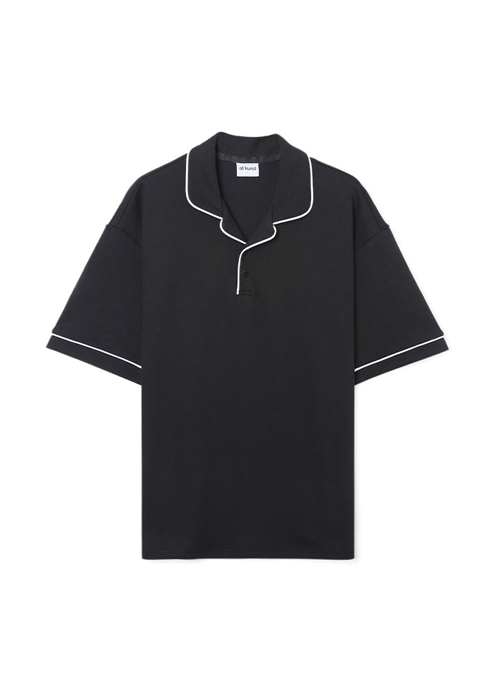 [17SS]LINE TAPE COLLAR LOOSE FIT