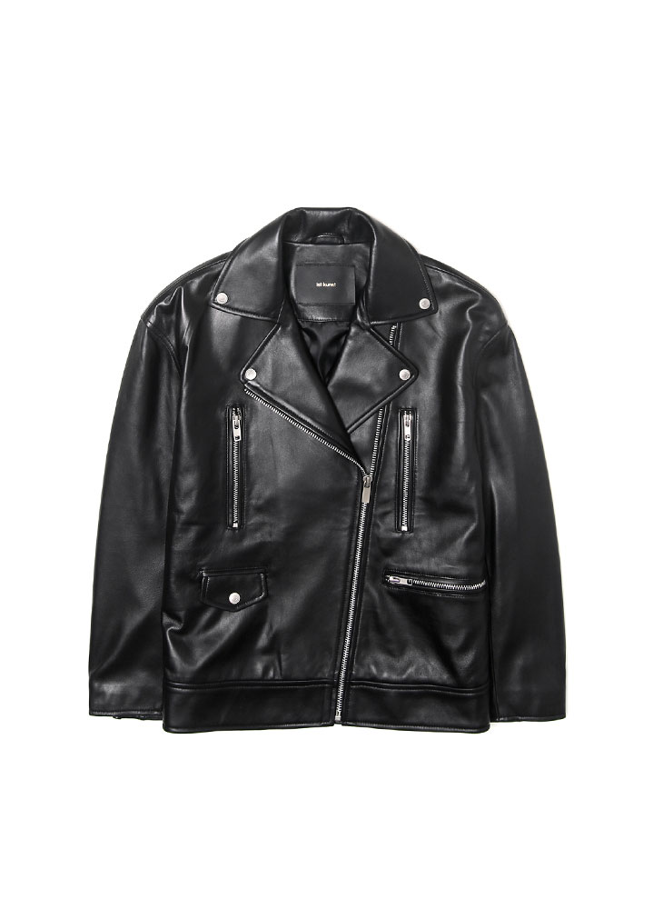 [17FW] WOMENS OVERSIZED LAMBSKIN RIDERS JACKET[BLACK]