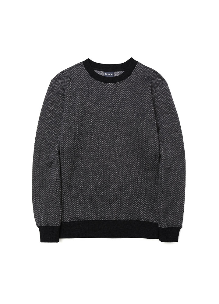 [17AW] HERRINGBONE KNIT SWEATSHIRT [CHARCOAL]
