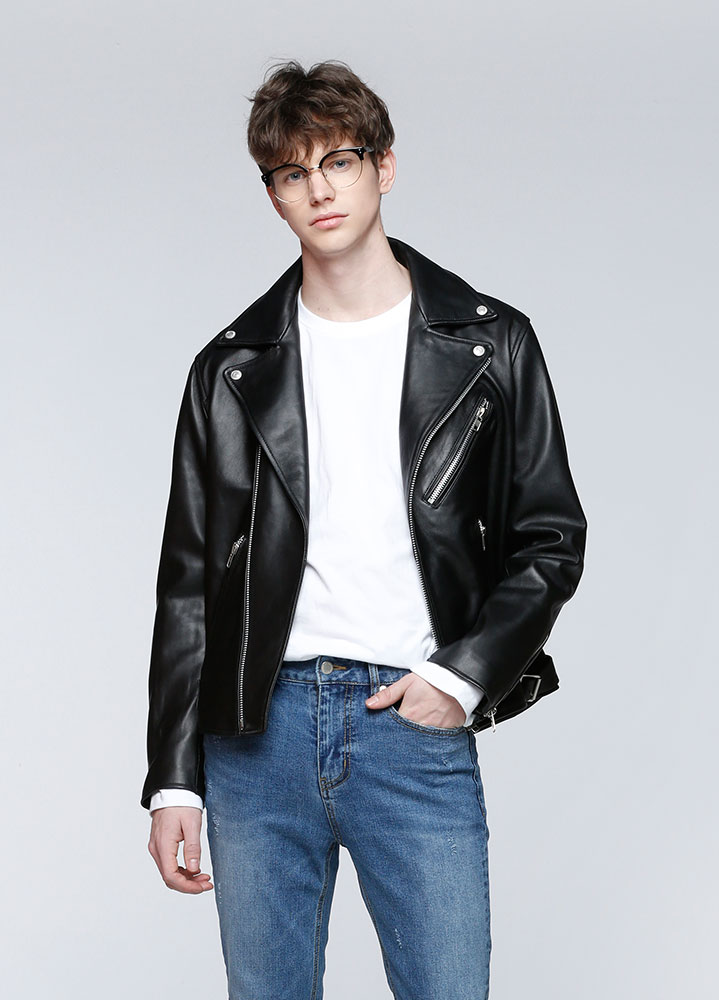[틴탑 천지 착용][LEATHER COLLECTION]PREMIUM LAMBSKIN RIDERS JACKET