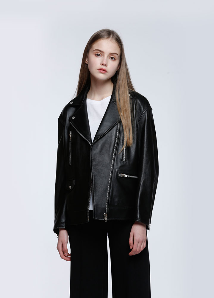 [위키미키 도연 착용][LEATHER COLLECTION]WOMENS OVERSIZED LAMBSKIN RIDERS JACKET