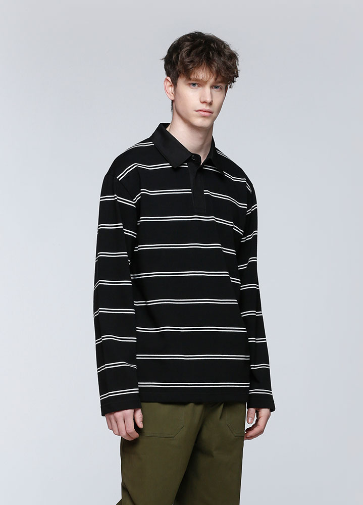 STRIPE RUGBY LONG TSHIRT[BLACK]