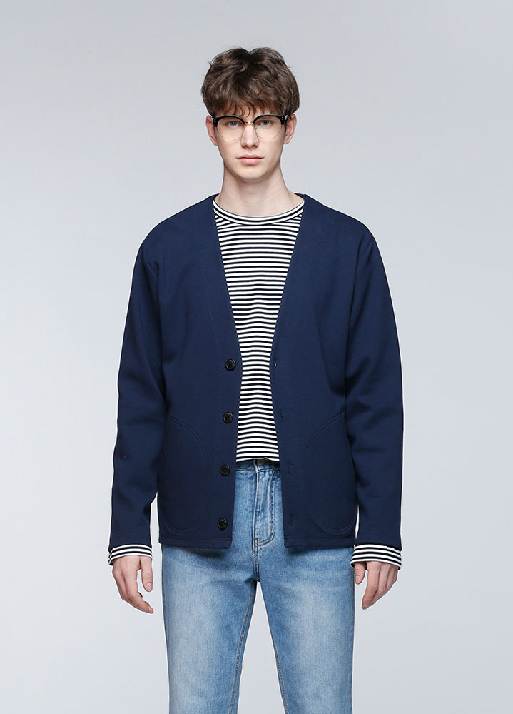 DOUBLE POCKET JERSEY CARDIGAN[NAVY]