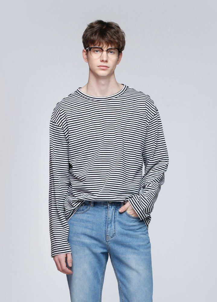 SMALL STRIPE LONG TSHIRT[BLACK]