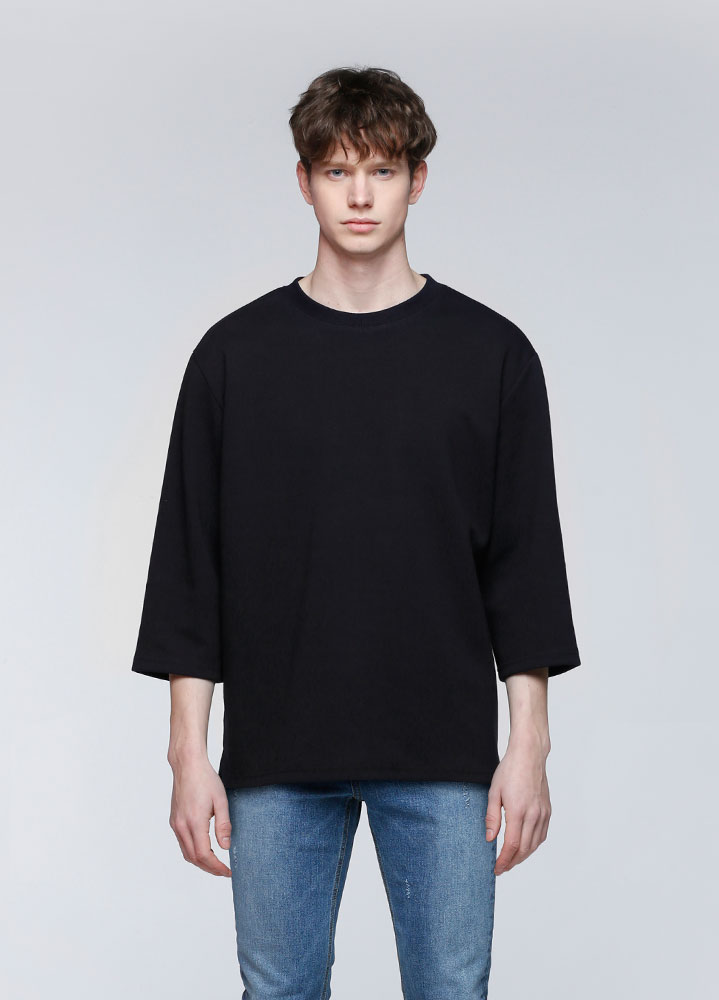 3/4 LOOSE SWEATSHIRT[BLACK]
