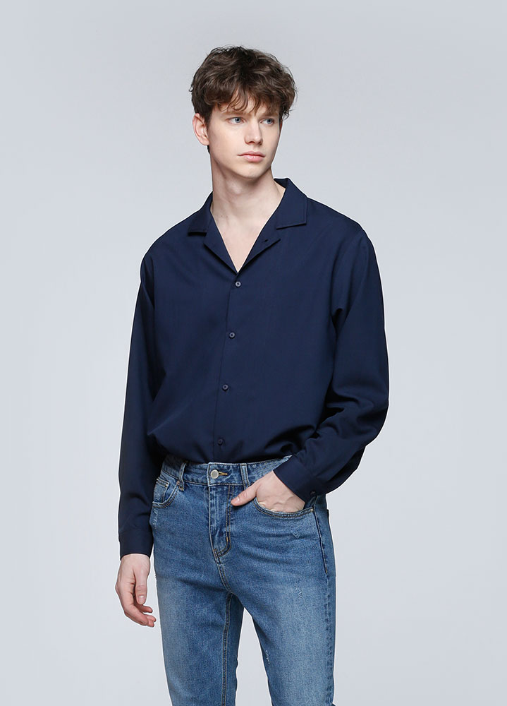 OPEN COLLAR SHIRT[NAVY]