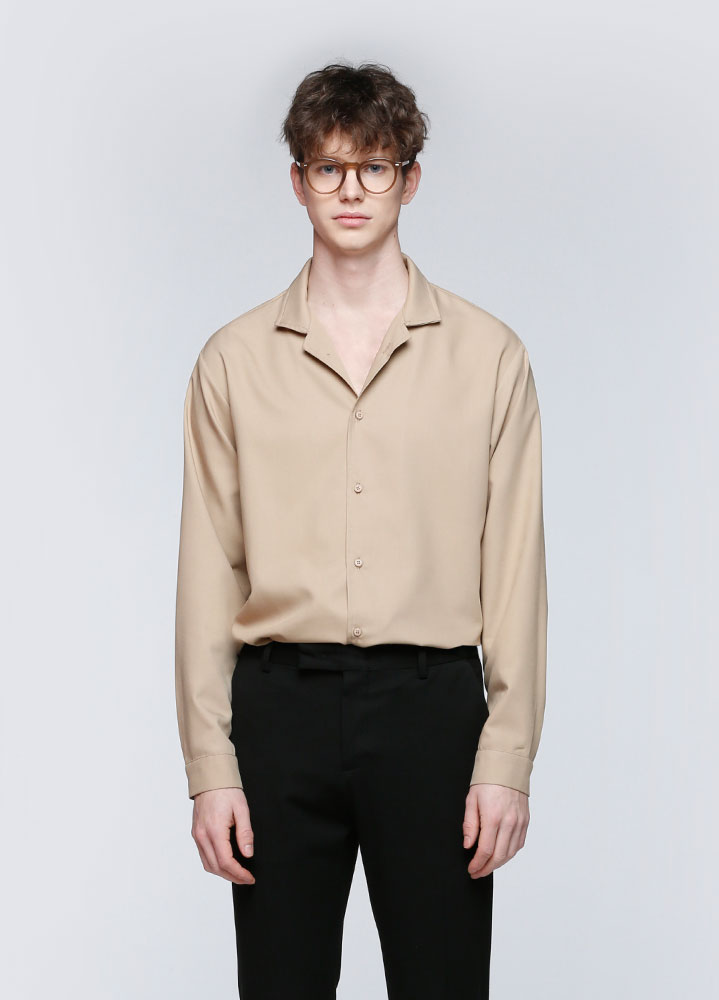 OPEN COLLAR SHIRT[BEIGE]