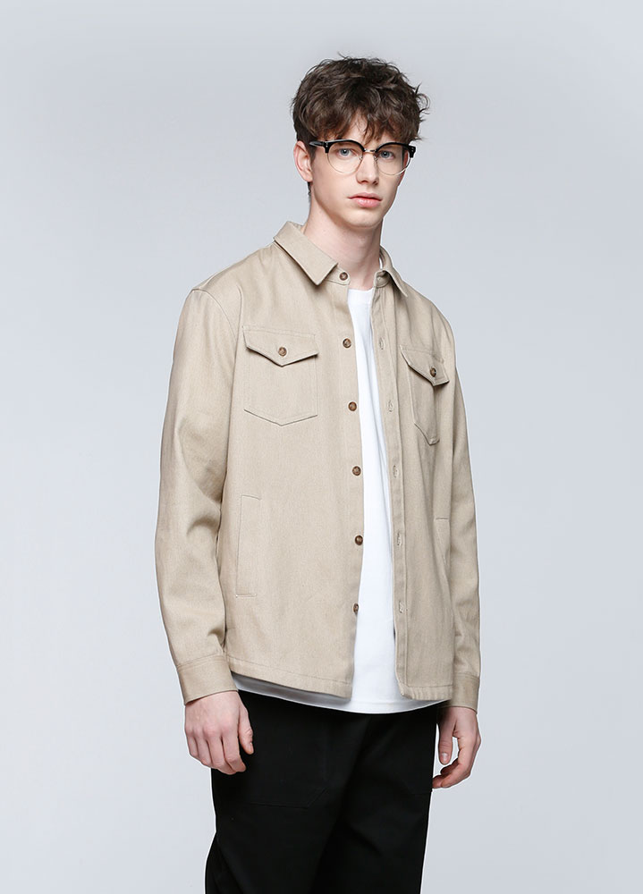 HEAVY COTTON UTILITY SHIRT[BEIGE]