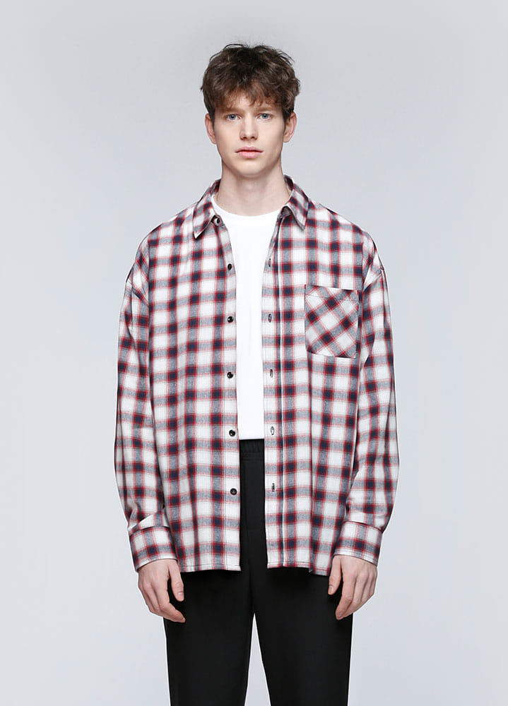 RAY OVERSIZED CHECK SHIRTS[RED]