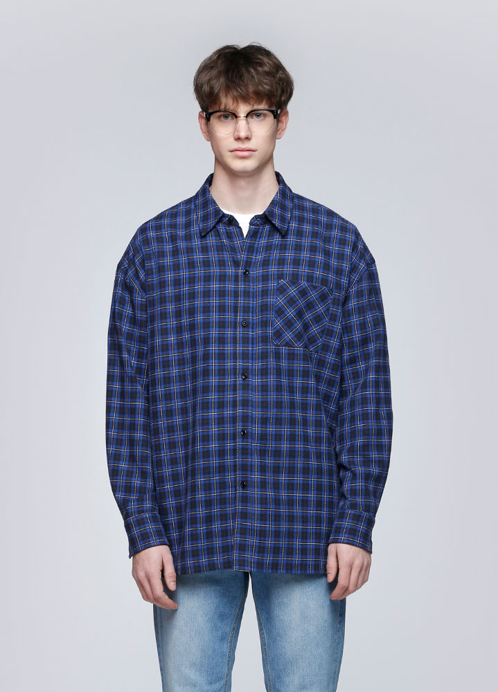 NEAT OVERSIZED CHECK SHIRTS[NAVY]
