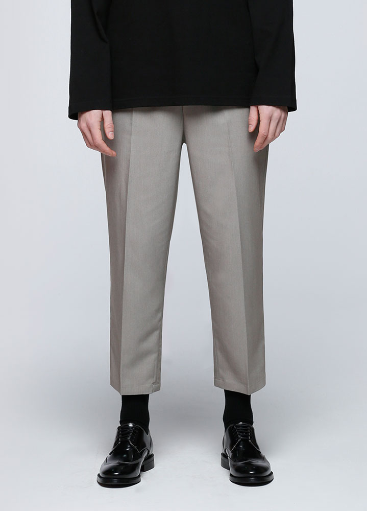 WIDE CROP BANDING SLACKS[BEIGE]