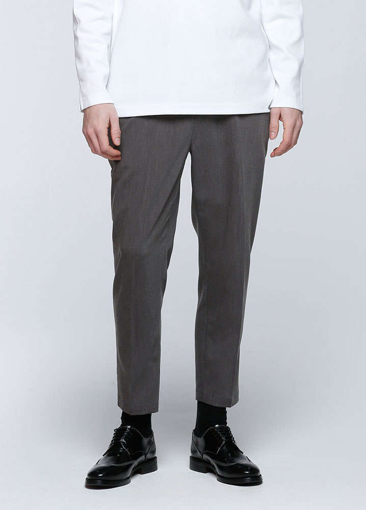 STANDARD CROP BANDING SLACKS[CHARCOAL]