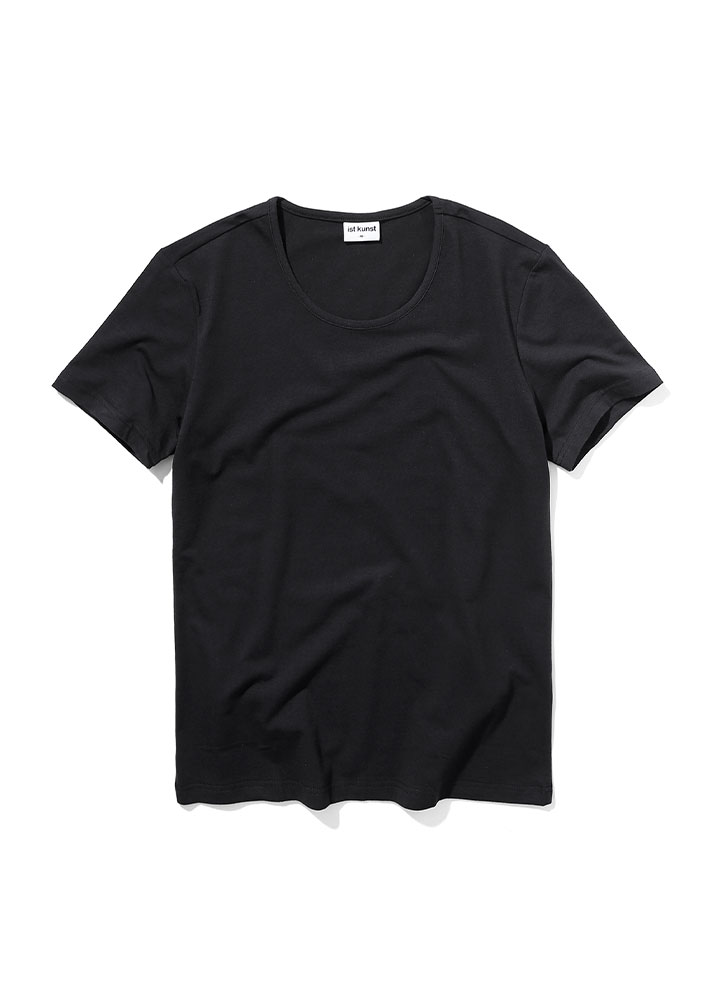 [STANDARD]SCOOPNECK COTTONSPAN TSHIRT[BLACK]