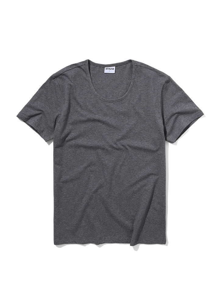 [STANDARD]SCOOPNECK COTTONSPAN TSHIRT[CHARCOAL]