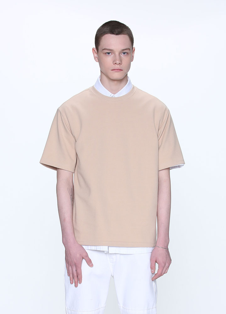 NEW OVERSIZED SHORT TSHIRT[BEIGE]